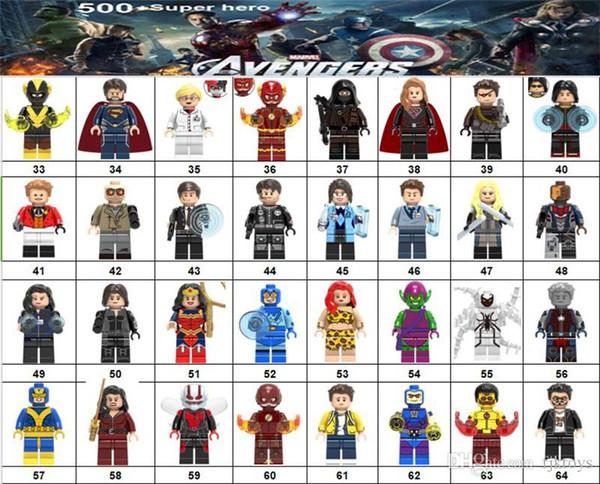 Wholsale Super hero Mini Figures Marvel Avengers DC Justice League Wonder woman Batman Black Panther building blocks 500 design kids gifts