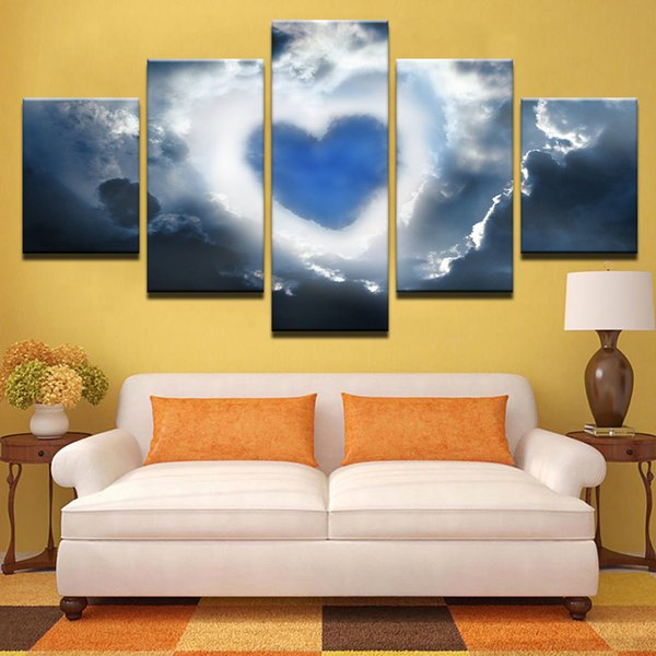 Modular Pictures Canvas Home Decoration Wall Art 5 Pieces Love Heart Nebula Painting HD Prints Sky Landscape Abstract Posters