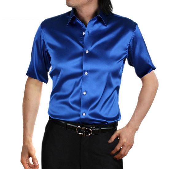 Mens Solid Silk Casual Shirts Short Sleeve Rayon Wedding Dress Shirts Men Soft Comfortable Fashion Shining Shirt Man TS-144