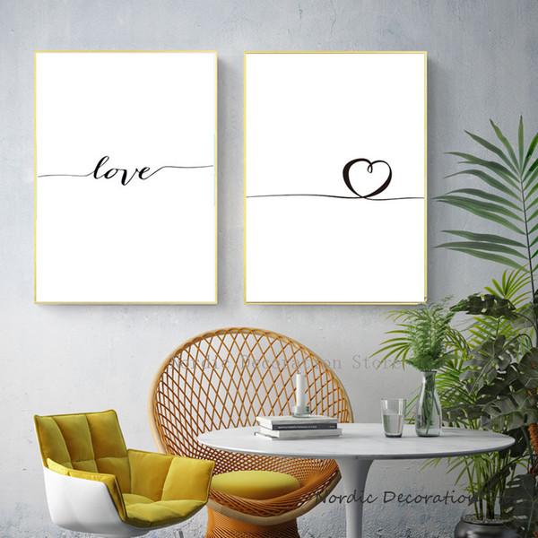 Affiche nordique noir et blanc impressions sur toile mur photos amour images murales Love Art toile peinture affiches et sans cadre
