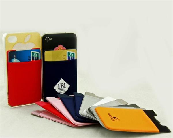 Support de carte de crédit de téléphone portable lycra de portefeuille intelligent de logo avec des conceptions collent sur le portefeuille de téléphone pour le téléphone portable