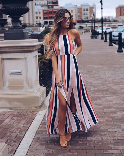 Women Boho Long Maxi Dress Ladies Party Evening Summer Sundress Beachwear Casual Women Clothes Halter Striped Backless Dress