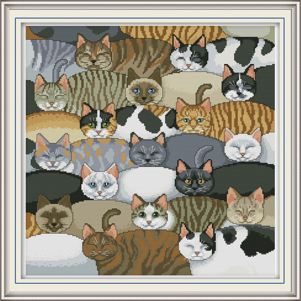 Different kinds of lovely cats home decor paintings ,Handmade Cross Stitch Embroidery Needlework sets counted print on canvas DMC 14CT /11CT