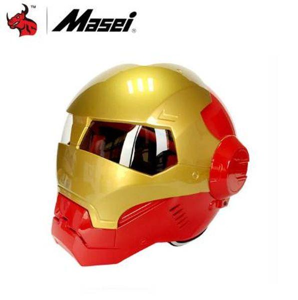MASEI Classic Motorrad Helm Casque Motocross Flip Up Moto Helm Vintage Racing Helme Capacete Motociclismo