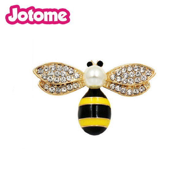 Bumblebee accessories jewelry yellow rhinestone peral insect safty pin queen honey bee brooch for women
