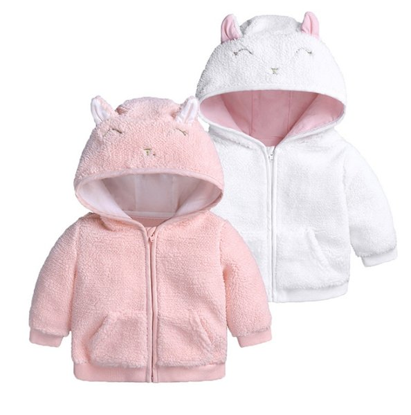 Cute Baby Fleece Hood Tops Coat Winter 2018 Baby Boutique Clothing Infant Toddlers Boys Girls Solid Color Warm Zipper Outerwear