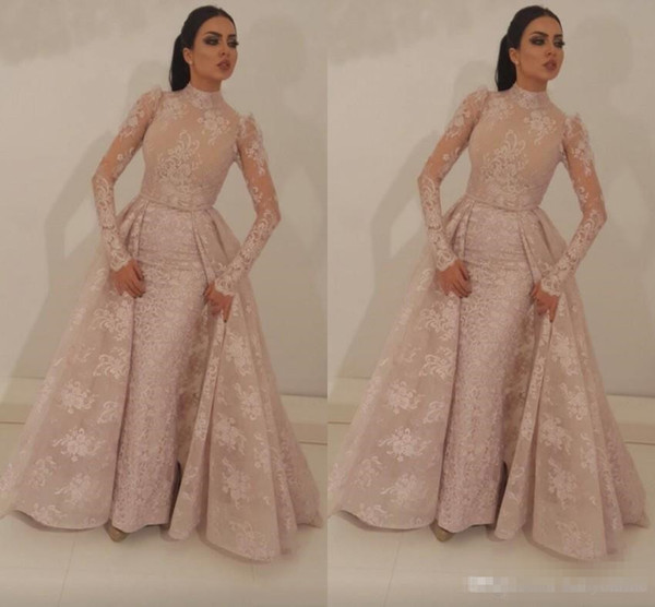 2018 High Neck Mermaid Prom Dresses With Detachable Train Blush Pink Full Lace Appliqued Illusion Bodice Long Sleeves Formal Evening Gown