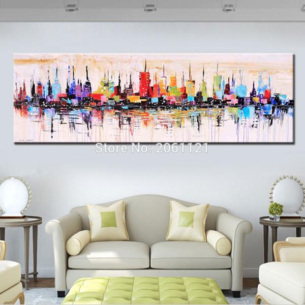 Großhandels Mode Modernes Wohnzimmer Dekoratives Ölgemälde Handgemaltes  Großes Langes Segeltuchbild Mirage Stadtlandschaft ABSTRAKTE WAND