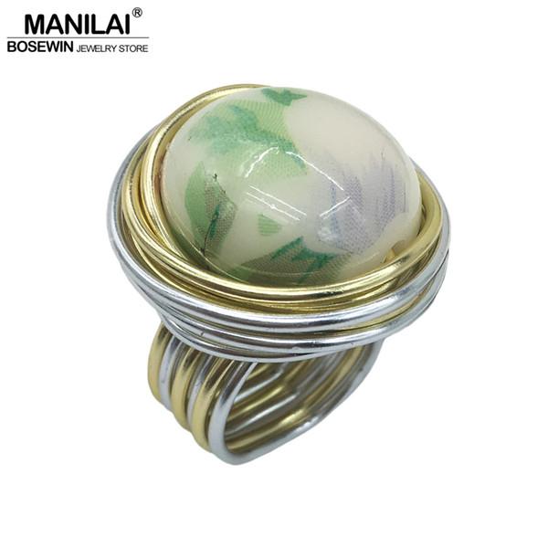 MANILAI 2018 Unique Handmade Imitation ceramic Acrylic Bead Rings Women Fashion Jewelry Wire Spira Vintage Finger Ring Wholesale