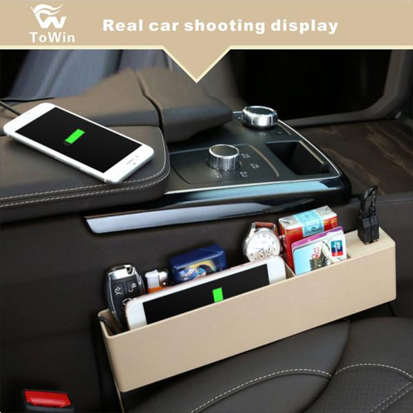 Car Seat Side Pocket, Car Pocket Organizer, Console Side Pocket Coin Holder 2 USB Ports, Seat Filler Gap Cell Phones, Keys, Cards, Wallets.
