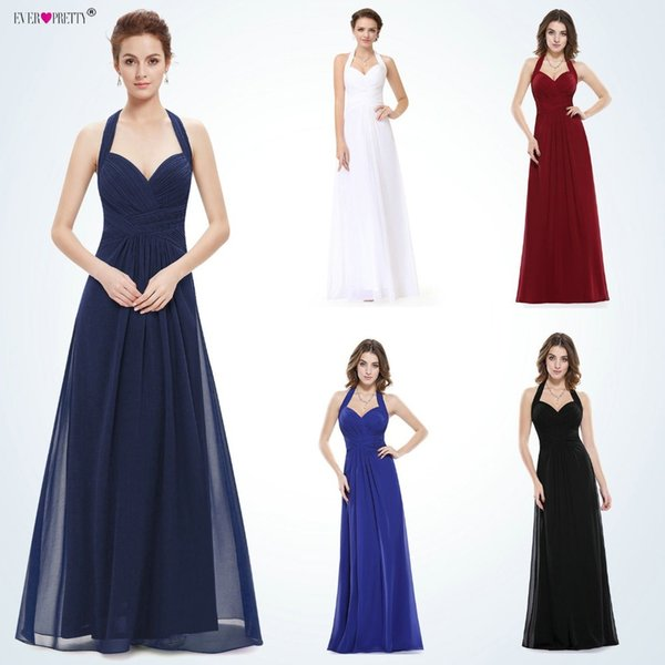 Sapphire Blue Prom Dress A Line Ever Pretty New Arrival Sexy Empire Halter Long Maxi EP08487 Sleeveless Long Prom Dresses 2018 C18111601
