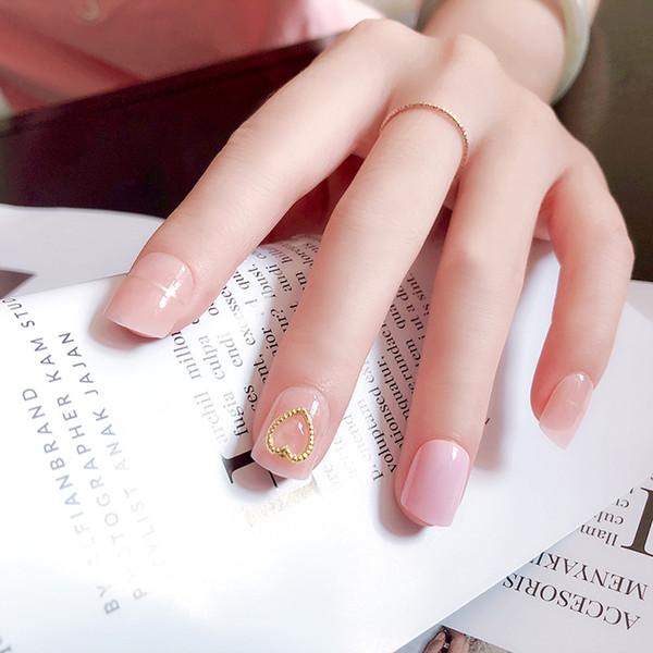24pcs/set French Acrylic Nails Small round head Finished false nails,Middle-long girl full short nail tips art tool bride Nails#