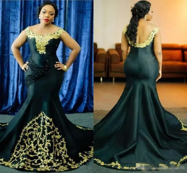 2018 Plus Size Mermaid Prom Dresses Satin Scoop Neck Gold Lace Applique Beaded Backless Sweep Train Formal Dress Evening Party Wear