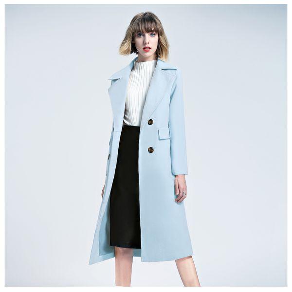 Großhandel IMC 2017 Wintermantel Frauen Lange Wolle Trenchcoat Zweireiher Himmelblau Rosa Khaki Mantel Damen Wintermantel Weibliche Von Motoshop,