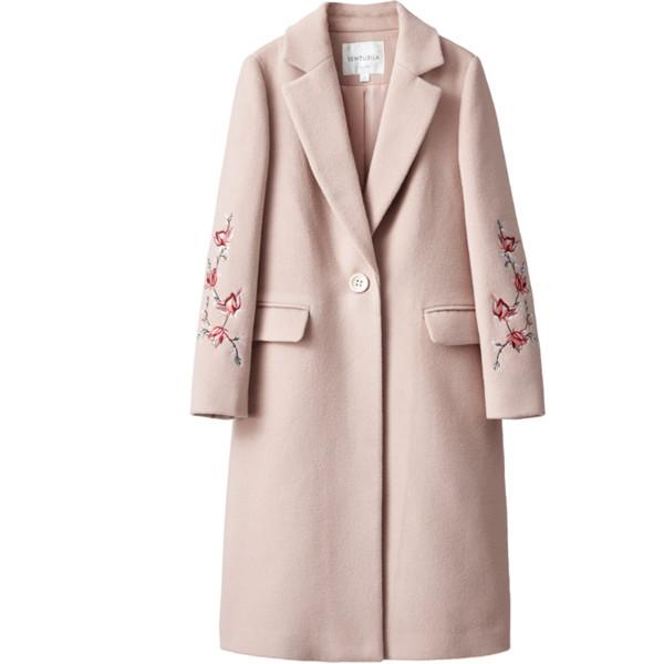 15347e2dd0a03 KMETRAM Abrigo de Lana de Invierno Abrigo Slim Mujer Casaco Rosa Largo 2018  Bordado Casaco Femininos