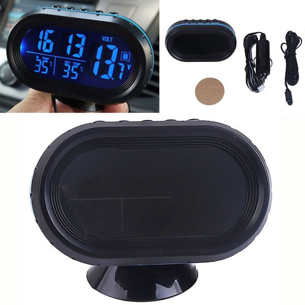 New Car Voltmeter LCD Digital Display Clock In/Out Temperature Blue Light Thermometer Clock 12-24V with Accessories Kit Set