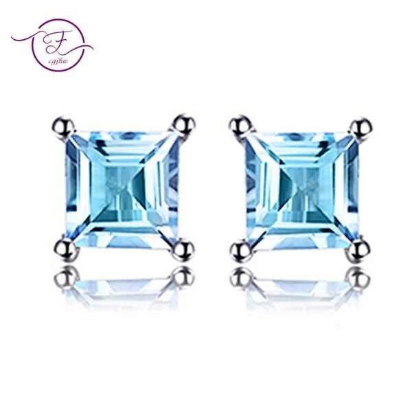 Стерлингового серебра 925 квадратных вырезать натуральный голубой топаз красоты Стад женщин серьги ювелирные изделия FCGJHW