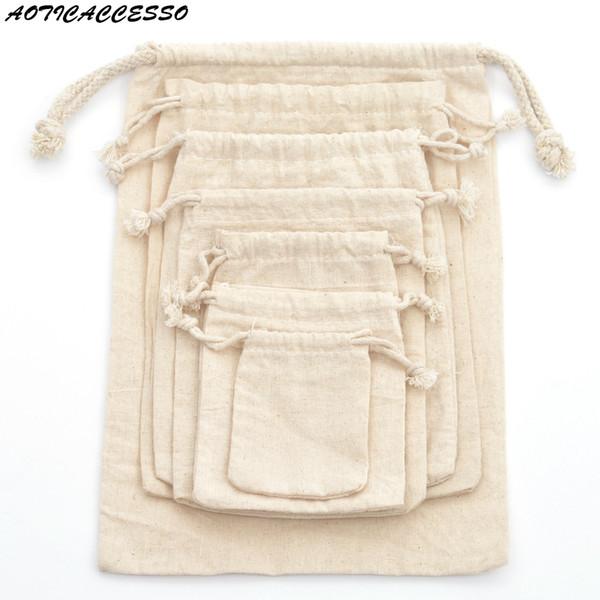 1 pc réutilisable coton cordon sac shopping voyage Shopper fourre-tout cordon sac pour femmes hommes blanchisserie sac de cadeau de Noël