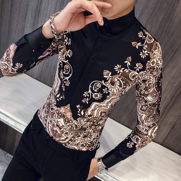 Top Quality British Style Print Shirt Men Brand New Slim Fit Casual Men's Social Shirts Dress Long Sleeve Night Club Prom Tuxedo