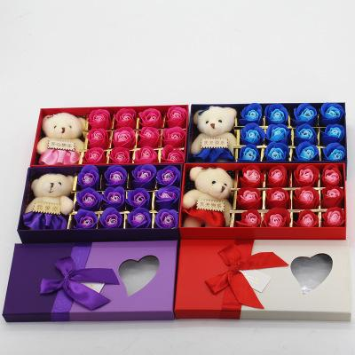 Romantic Rose Soap Flower With Little Cute Bear Doll 12pcs Box Gift For Valentine Day Gifts for Wedding Gift for birthday Gifts