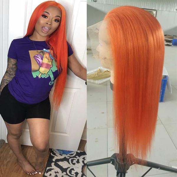 Turuncu Tam Dantel Peruk İnsan Saç Bebek Saç Ile Ön Koparıp Düz Brezilyalı Bakire Dantel Ön Peruk 130% Yoğunluk 8-24 inç