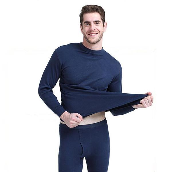 Hommes Col Roulé Thermique Underwer Long Johns Russie Automne Hiver Haute Qualité Coton bleu gris Thermique Sous-Vêtements définit Mince bonne élasticité