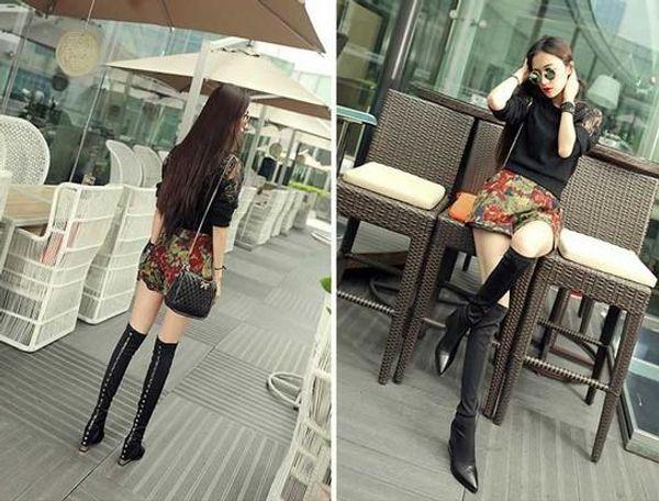 fashionville*high quality! b075 34 genuine leather stud hidden wedge thigh boots black vogue runway