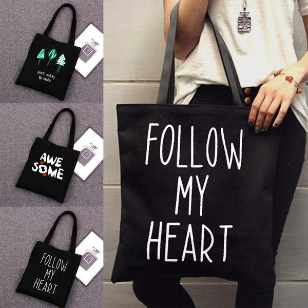 Borsa a tracolla di tela Tote di grande capacità delle donne casuali Follow My Heart Lettera Stampa Shopping Bag Borse da spiaggia Casual Tote Feminina