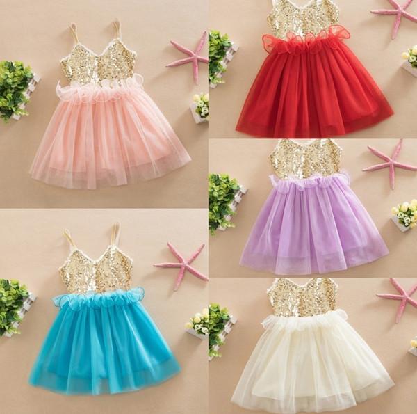 Baby Mädchen Pailletten Kleider Sommer Mädchen Weste Kleid Baby Party Prinzessin Kleid ärmellose Kinder Kleider es