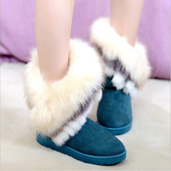 faux fur boot woman fox fur Snow Boots Cute Suede Winter Shoes Sewing Mid-Calf Female Fashion Shoe Non-Slip platform ankle Casual boot