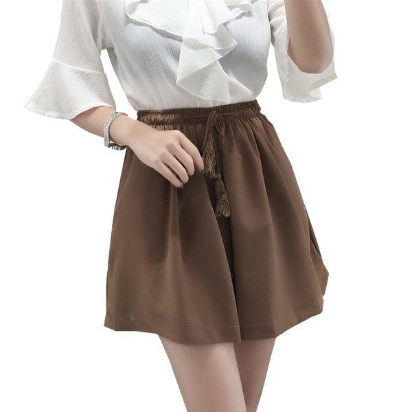 2018 été vente chaude coton lin rayé shorts femmes lâche casual court solide cordon casual taille moyenne shorts patt