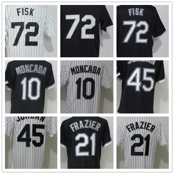 2018 Men's 21 Frazier 45 Michael 72 Fisk 10 Yoan Moncada White Strips Black Baseball Sox Jerseys 100% Stitched Wholesale Cheap