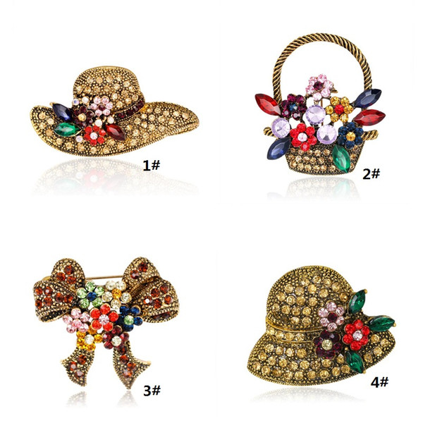 Crysal Hat Brooch Pins Hot Sale Personality Bow Flower Basket Booch Pin for Party Fashion Silver Jewelry Wholesale Free Shipping 0754WH