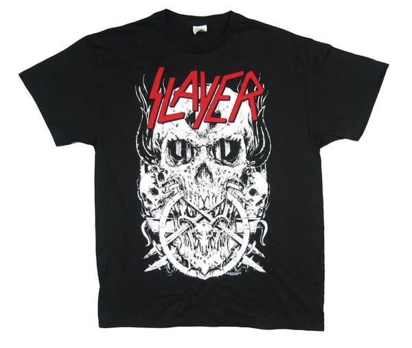 Slayer Beyaz Kafatası Kırmızı Logo Siyah T Gömlek Yeni Resmi Bant Merch
