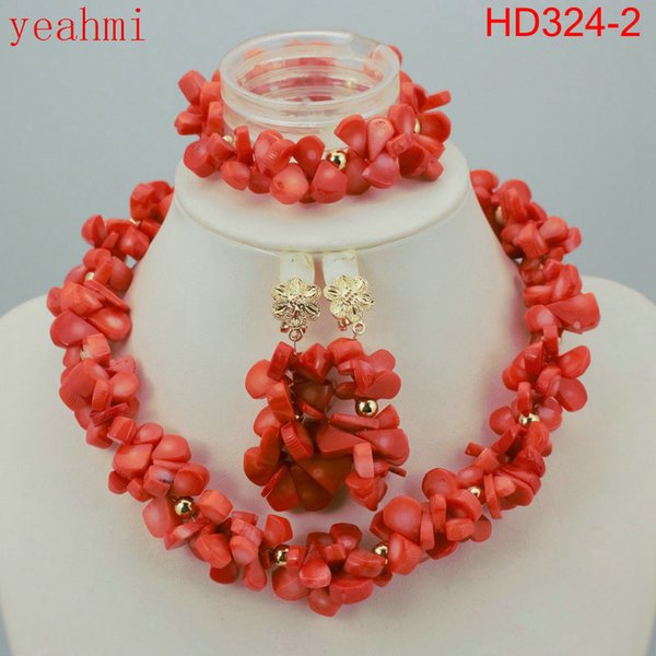 Nigerian Wedding African Beads Jewelry Set Red/Gold Indian Bridal Jewelry Set Coral Jewelry HD324-1