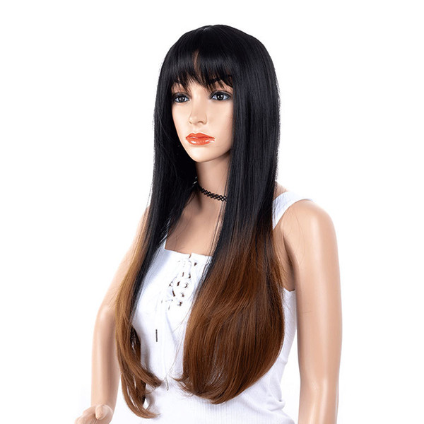Women Long Synthetic Straight Hair Ombre Brown Cheap Side Bang Chemical Headgear Dyed Partial Fiber Heat Resistant Wig