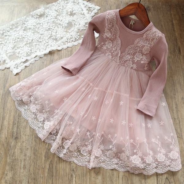 INS Spring Autumn Kids Girls Tutu Princess Ruffles Party Dress Candy Pink Gray 2 Colors Fashion Dress 90-140cm,for 1-7years free ship
