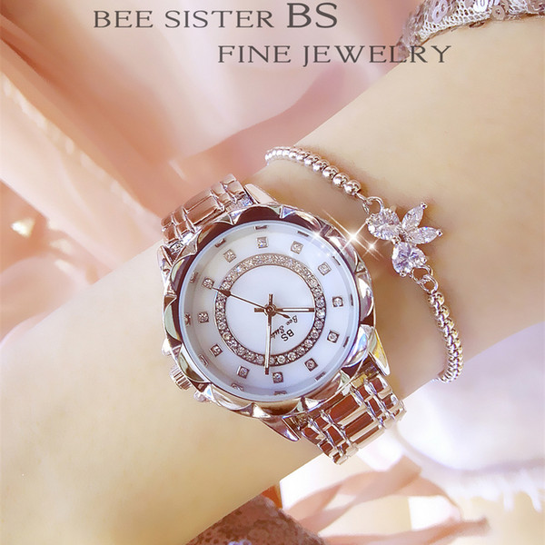 BS tendencia de moda simple reloj de cuarzo impermeable relojes de diamante