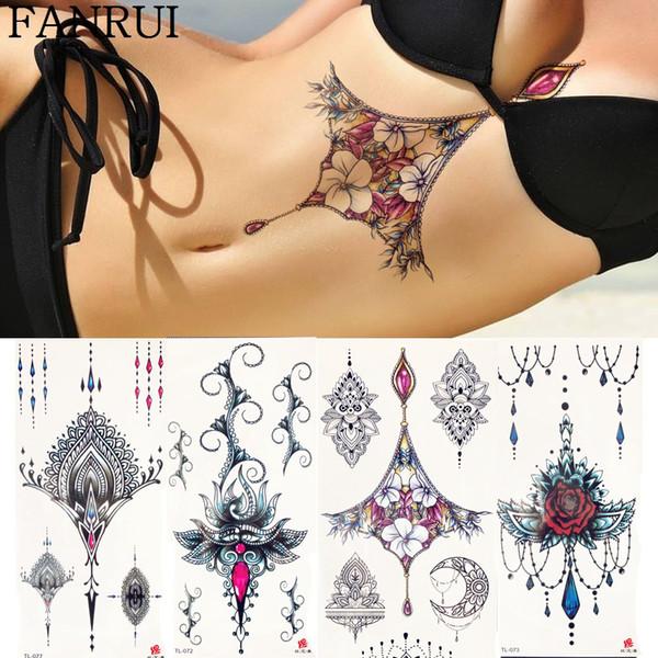 Jewelry Chains Hands Temporary Tattoo Stickers Women Body Under Breast Art Drawing Fake Tattoo Gem Flower Tatoos Girls Bracelet