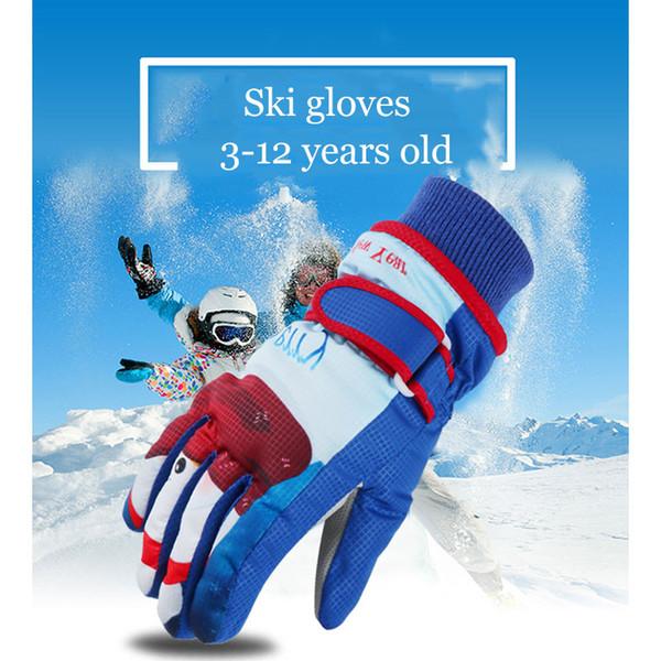 Nuevos niños Invierno Cálido Guantes de esquí Patrón de dibujos animados A prueba de viento Impermeable Resistente al desgaste PU Esquí Deporte Snowboard Guantes para niños H-4