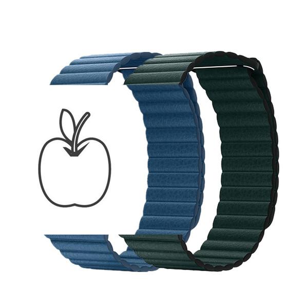 Neue Farbe Lederschlaufe für Apple Watch Band 44mm 40mm 42mm 38mm iWatch Serie 4 3 2 1 Magnetverschluss Handgelenk Armband Gürtel Band Straps