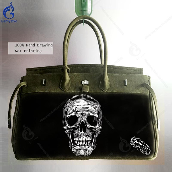 2018 Canvas Messenger Bags Men Casual Shoulder Bag Hand Painted Skull Laptop Satchel Military Navy Green School Handbag black
