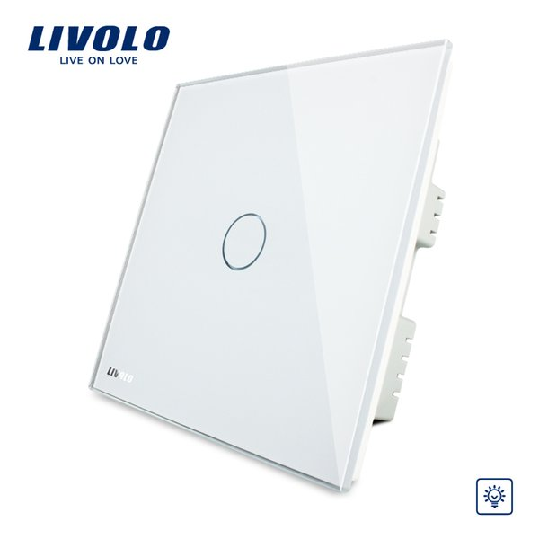 Livolo, Touch Switch, UK Standard, AC 220-250V VL-C301D-61, White Crystal Glass Panel, Wall Light Touch Screen Dimmer Switch