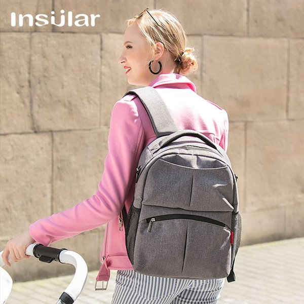 Insular Multi-function Solid Color Nylon Big Maternity Backpack for Baby Stuff Branded Nappy Travel Bags Portable Stroller Bags