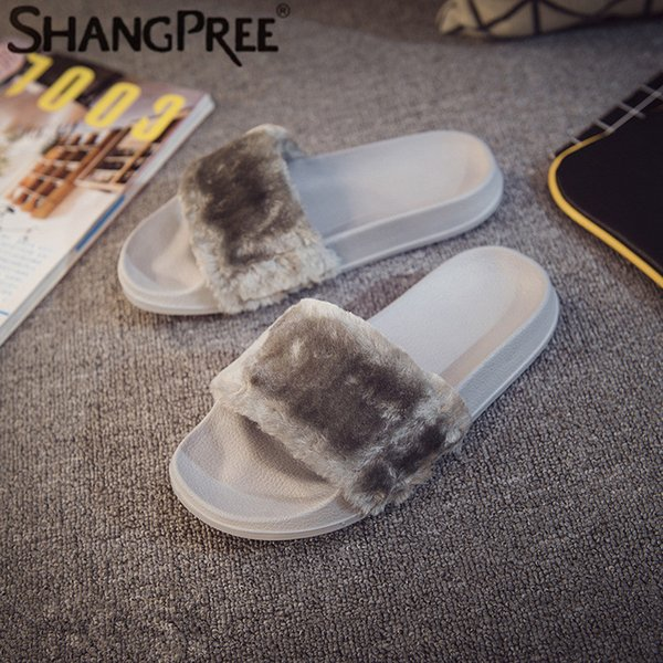 women slippers zapatos mujer non-slip comfort fluffy faux fur fashion plush female casual slipper flip flop sandal women sho