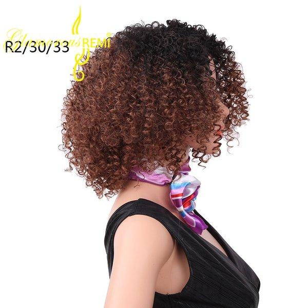 Kinky synthétique bouclée perruque synthétique faite à la machine perruque de cheveux résistant à la chaleur de Kanekalon courte de 12 pouces pour les femmes