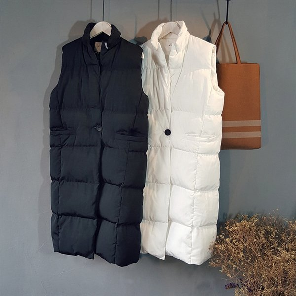 Wholesale-Autumn Winter Version Coat Women Ladies Casual Waistcoat Female Sleeveless Cotton Vest Jacket Long Cotton Vest colete feminino