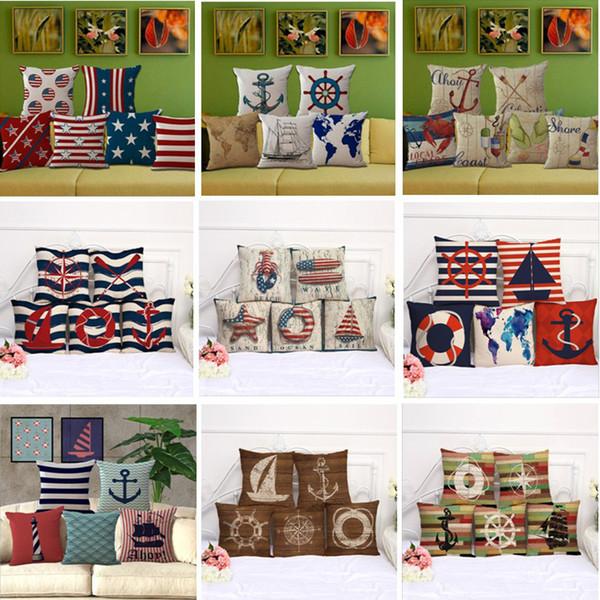 Sailing Anchor Rudder Pillow Case 45*45cm Cushion cover Linen Cotton Throw Pillowcases Home Décor sofa Bed Pillow covers 55colors