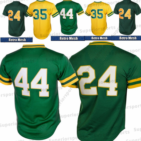buy online 3684d 3e640 2019 24 Rickey Henderson Jersey 44 Reggie Jackson 35 Henderson Yellow  Oakland Athletics Baseball Jerseys 100% Stitched Top Quality From ...