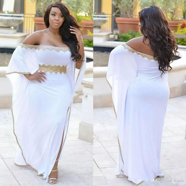 White Split Side Plus Size Evening Gowns Gold Beaded Off Shoulder Prom Dresses Cheap Floor Length Chiffon Formal Party Dress